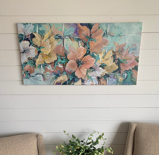 Floral Art on Canvas (18'' x 36'')