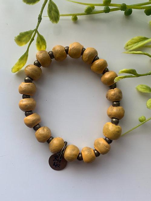 Mustard (matte), bracelet w/ brass stamped charm