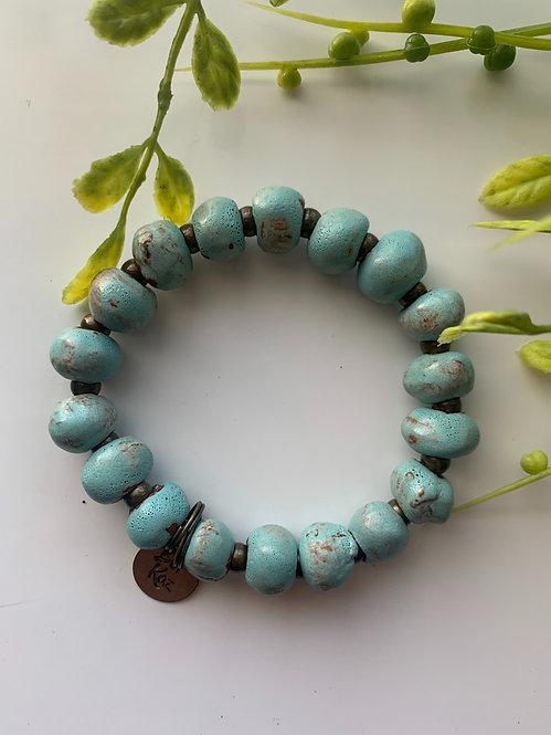 Seafoam (glossy), bracelet w/ brass stamped charm
