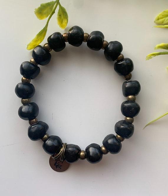 Black (glossy), bracelet w/ brass stamped charm