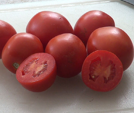 Here is the Roma Tomato, Solanum lycopersicum. This tomato was developed by the USDA's Agricultural Research Service (ARS) scientists in Beltsville, Maryland in the 1950s as a verticillium, fusarium wilt-resistant cultivar. They are egg shaped and have very thick walls making it ideal for sauce. It is also drying. Highly productive and produced fruit all the way to the end of the season! V,F resistant, Open pollinated. determinate. 73 days.