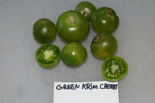 Here is the Green Krim Cherry Tomato, Solanum lycopersicum. This tomato originates from Columbia Valley BC Canada and was fou