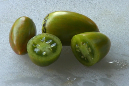 Here is the Green Tiger Tomato, Solanum lycopersicum, This tomato is a Artisan Seeds creation and is all the rage these days!