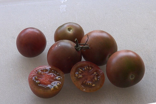 The Black Cherry Tomato, Solanum lycopersicum is a hard variety to find with it's rich flavor. This cherry tomato was created