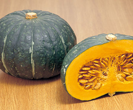 Here is the Japanese Pumpkin,Cucurbita maxima. It is also known as the kabocha squash, kabocho, kabotcha! It is pretty sweet and makes a great pie or you can cut into chunks an put in soup. This variety can produce dozens of fruits fairly quickly an can make 10 pumpkins per vine. It is hard on the outside with a knobbly-looking skin and a bright yellow-orange flash inside. Fruits can get to 5 Lbs and about 10 inches around. Plants normally don't get to much bigger then 8 feet but may get longer in full sun. We found roasting the seeds to be really good and the flesh makes a good pumpkin pie! Open pollinated 90 to 100 days.