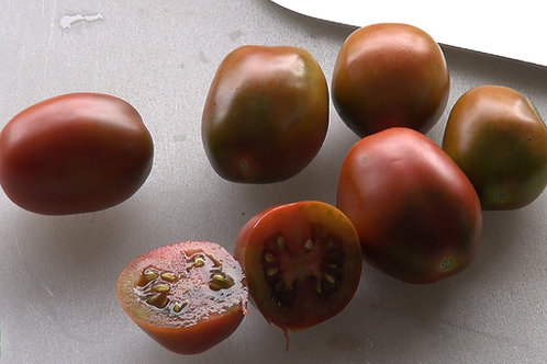 Here is theRussian Black Plum Tomato aka Black Plum tomato and or Brown Plum Tomato, Solanum lycopersicum.It is a very prol