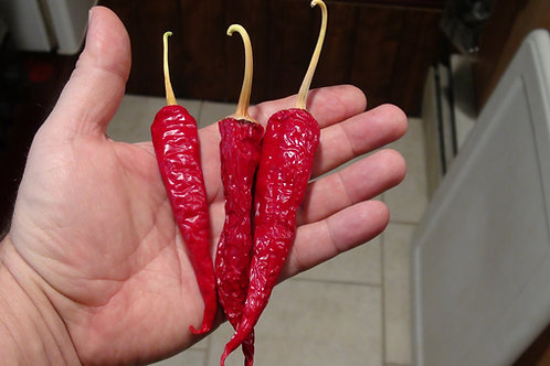 Here is the Lombok pepper, Capsicum Annuum, Scoville units: 0 to 800+ SHU. This Pepper originates from the island of Lombok f