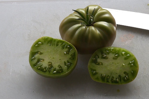 Here is the Aunt Ruby's German Green Tomato, Solanum lycopersicum, and was introduced by Ruby E. Arnold in 1915. This tomato