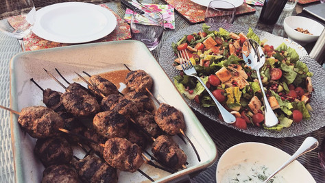 Syrian lamb kebabs with an Aleppo chili sauce and cucumber yogurt