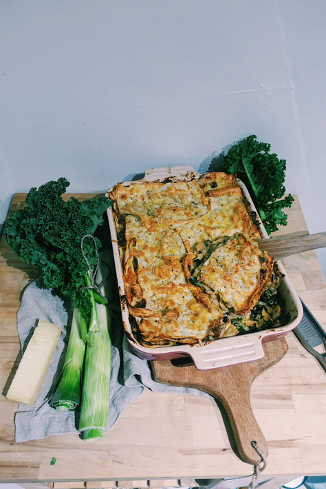 Smoky mushroom and kale lasagne with spring cabbage