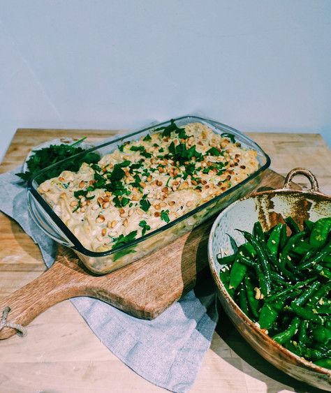 Baked cod in tahini sauce with french bean salad