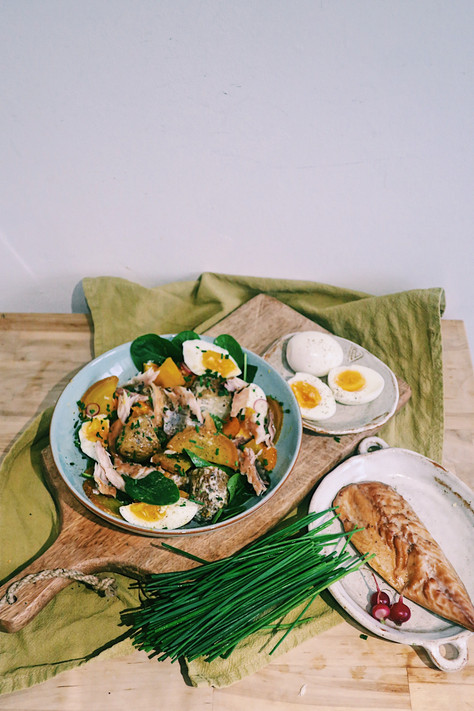 Warm mackerel salad with roasted golden beetroot and squash