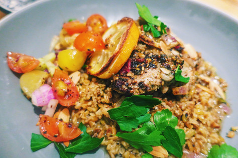 Za'atar roasted chicken thighs with nutty freekeh
