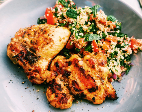 Chermoula chicken thighs with herby tabbouleh salad