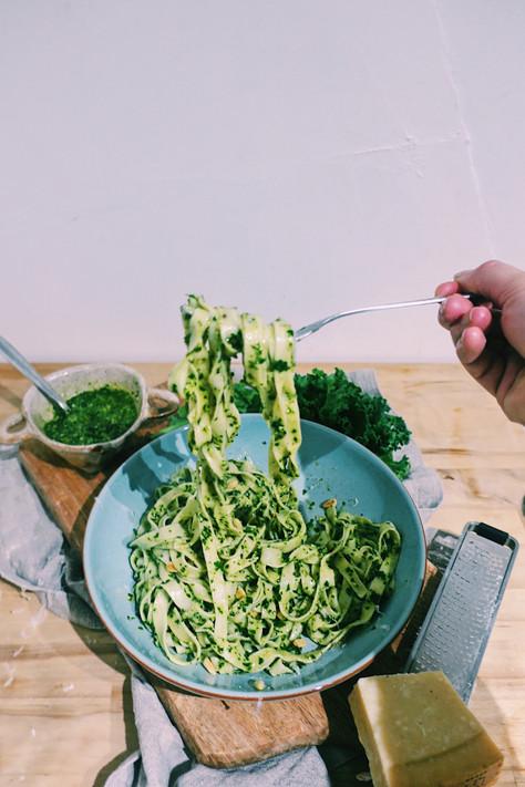 Fresh fettucine with kale and walnut pesto