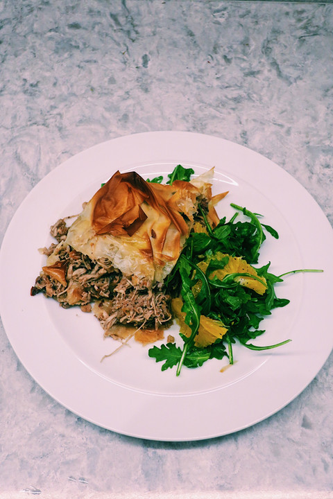 Moroccan chicken pastilla with orange and rocket salad