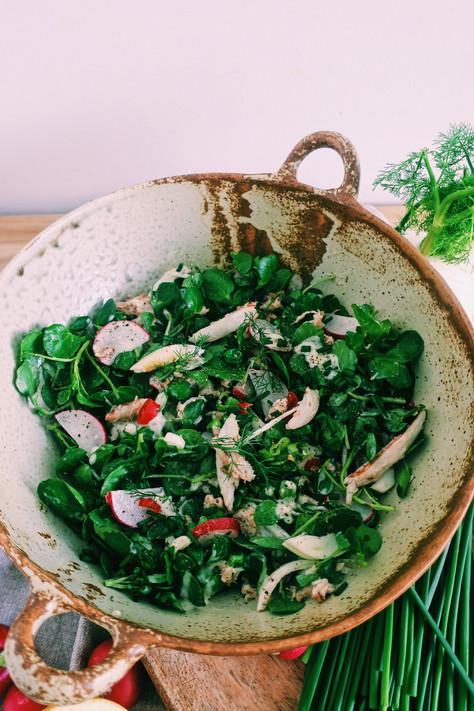 Spring crab salad with garden peas and radish