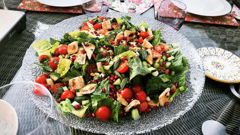 Fattoush salad and jeweled hummus