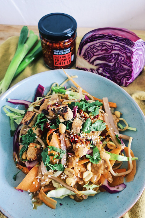 Vegan noodle salad with crispy tofu and Thai peanut sauce