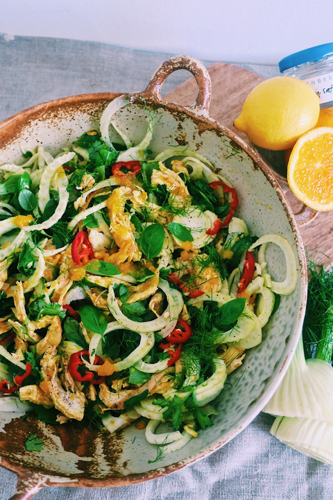 Chicken, fennel and orange salad with saffron