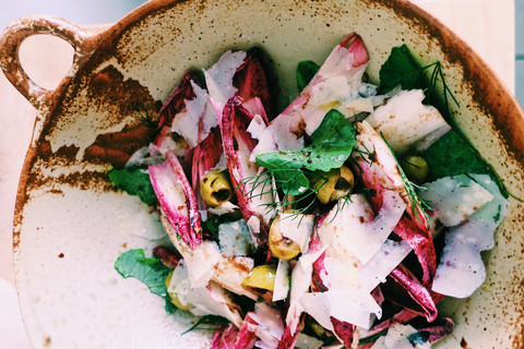 Radicchio salad with green olives and Pecorino