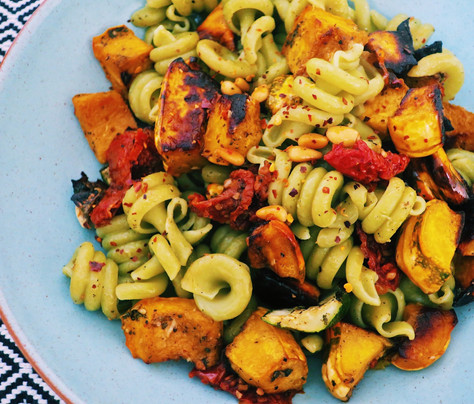 Fusilli pasta with squash, pine nuts and curly kale