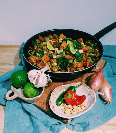 Fiery tofu Pad Thai with rice noodles
