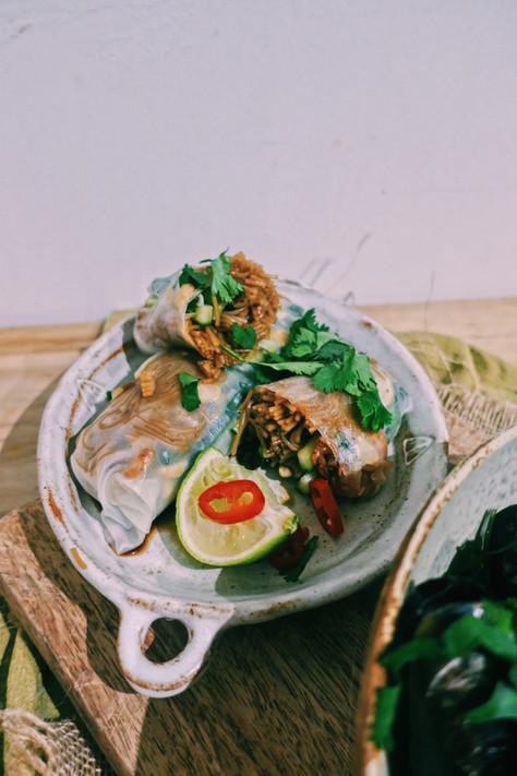 Prawn and shiitake mushroom summer rolls