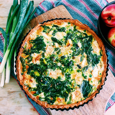 Spring quiche with asparagus, broad beans and mint