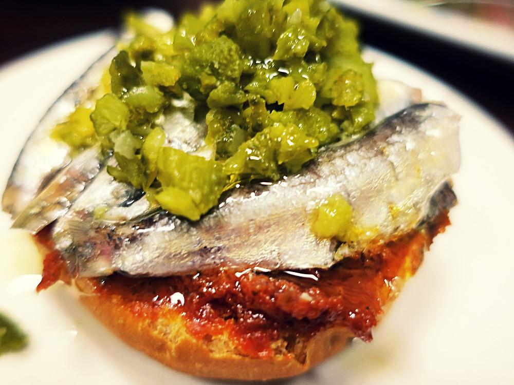 sardine and sundried tomato montadito