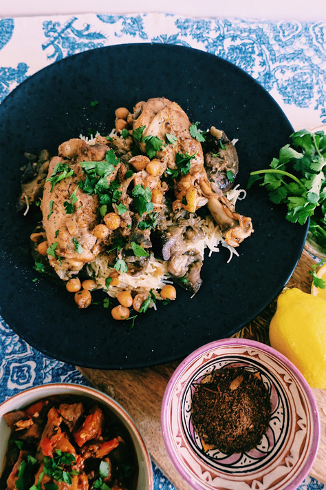 Chicken brania tagine with broken aubergines and chickpeas