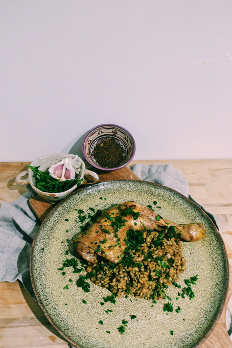 Ras al hanout chicken legs with freekeh