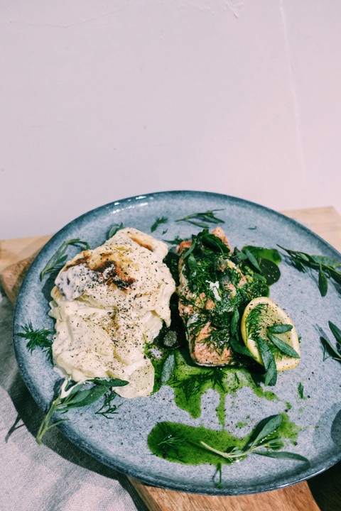 Wild salmon with foraged sea purslane, three-cornered leek pesto and dauphinoise potatoes