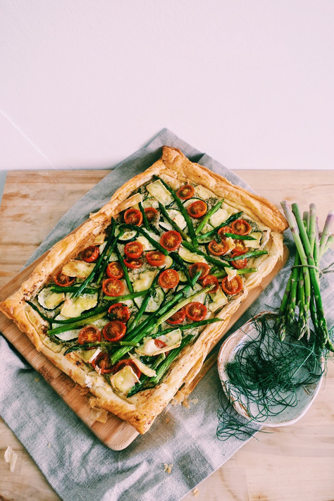 Fennel fronds pesto tart with asparagus and brie