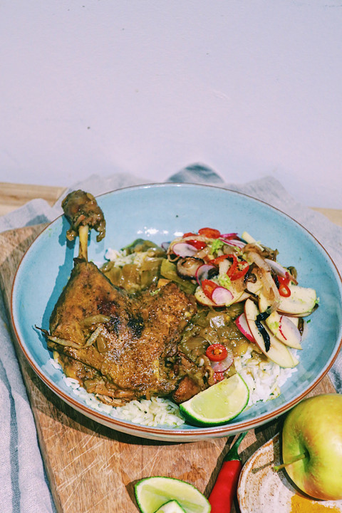 Burmese duck leg curry with apple salad