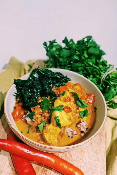 Sri Lankan fish curry with brown rice and crispy kale