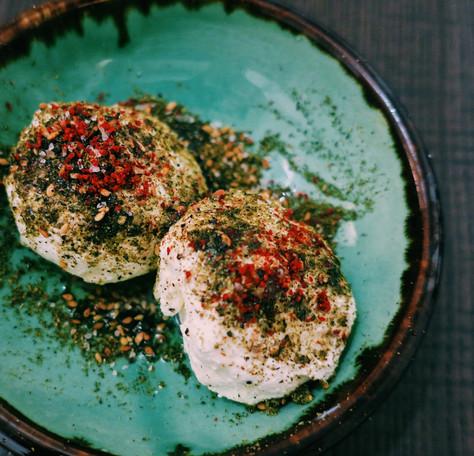 Homemade labneh with za'atar