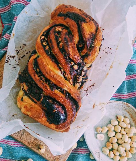 Chocolate, hazelnut and cinnamon babka loaf