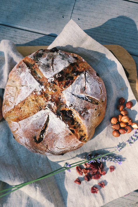 Chocolate, cranberry and hazelnut sourdough