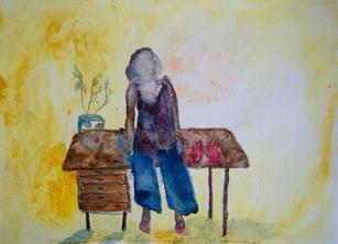 Kvinna och skrivbord (Woman and desk) 2020