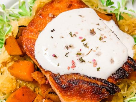 Pan Seared Salmon w. Clean Cashew Cream + Roasted Squash (dairy free + gluten free + paleo + keto)