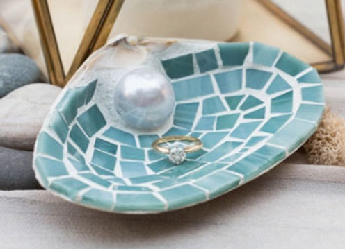 Blue Mosaic Trinket Shell by Live in Mosaics - large