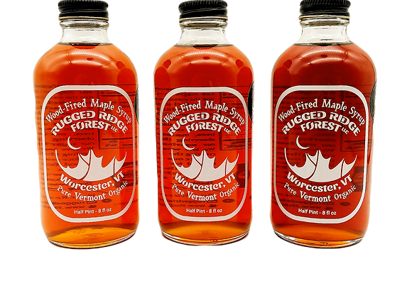 Wood Fired Vermont Maple Syrup Sampler by Rugged Ridge Forest - 3 half pints