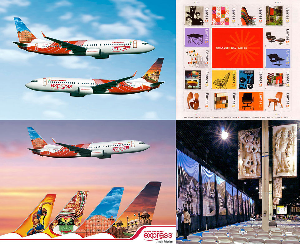 Air India Express tail design • Charles & Ray Eames stamps • biannual Jaina Convention • Mount Abu • Ranakpur • Jainism
