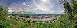 Basle with suburbs & river Rhine