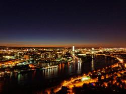 panorama of Basle and river Rhine