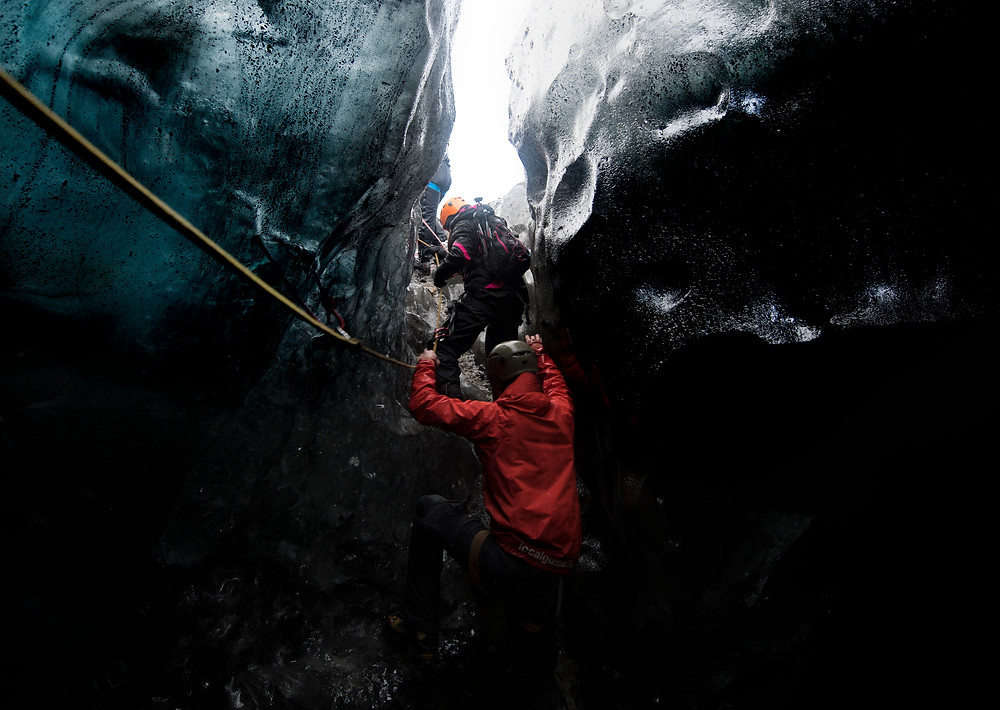 Rappelling into an Ice Cave