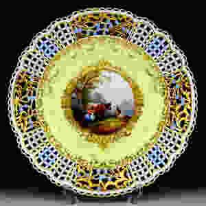 超希少 新古典主義 細密画 マイセン プレート ワトー Watteau 古典 19世紀 ロココ 日本未発売 珍品 meissen 古マイセン 入荷予定 王侯貴族文化 オープンワーク 透かし皿 ヘロルト Hoeroldt 特注品 高額ライン kaendler コバルト 18世紀 17世紀 美術館 デコラティブプレート