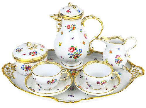 古マイセン 装飾食器 小ブーケ散しと昆虫 Gカンテ デジュネ カップ&ソーサ プレート 2名総8点ペアサービス 全て1級 19世紀 アンティーク
