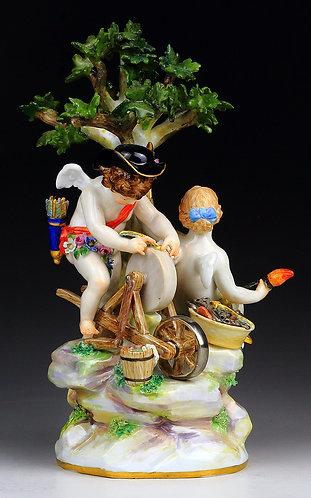 マイセン 人形 フィギュア 矢を砥ぐ天使の群像 19世紀 レア作品